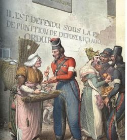 Cossack and fish saleswoman. Paris, 1814. 75mm