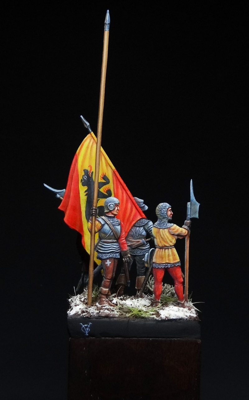 Swiss soldiers of the Canton of Berne. 15th century