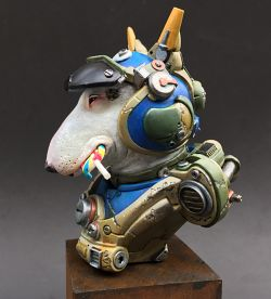 Bull Terrier Pilot bust from the Animal Union series