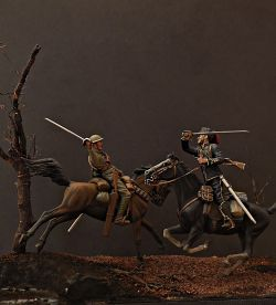 British and German cavalrymen