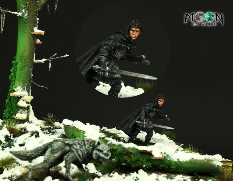 Beyond the Wall - Jon Snow & Ghost Dire Wolf - Diorama