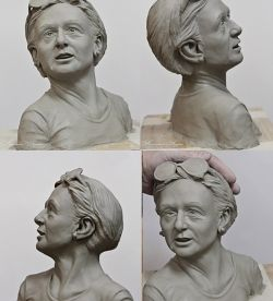 Femaile portret in paper clay