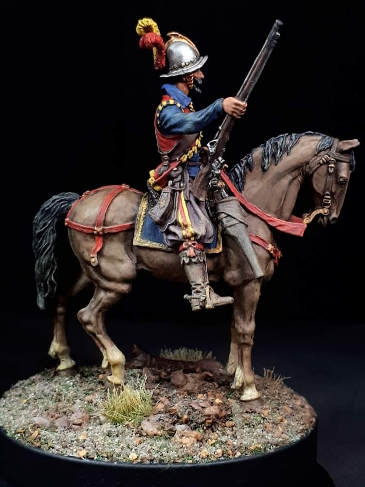 54mm Spanish mounted arquebusier, 16th-17th Century