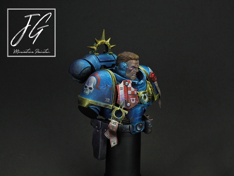 Bust of Lieutenant Calsius of the ultramarines