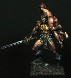 Barbarian and the Lost Princess by BlackSunminiatures