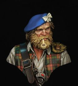 1\10 scale Highland clansman 1745. Boxart for Young miniatures