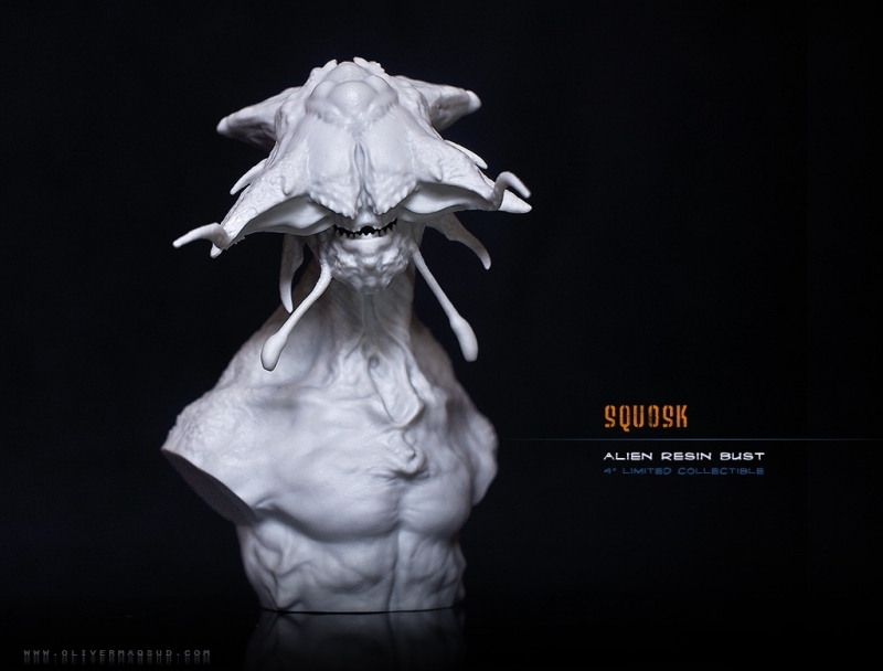 Squosk - Alien bust, collectible resin statue