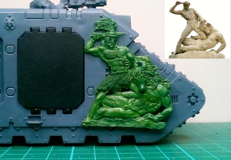 Theseus And The Minotaur On Land Raider With Green Stuff